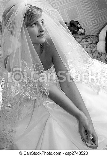 Young adult bride in veil - csp2743520