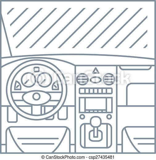vector of flat simple line illustration of car interior