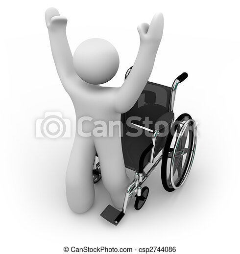 Cured Person Rising from Wheelchair - csp2744086