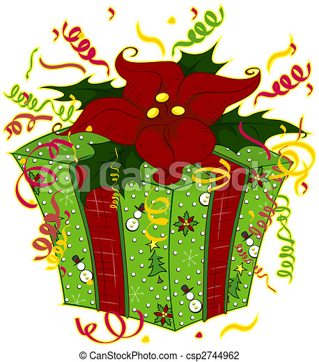 Clip Art of Christmas Gift csp2744962 - Search Clipart ...