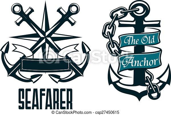 Seafarer Marine Heraldic Emblem And Symbol Stock Vector - Image ...