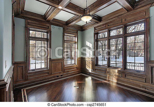 Library with wood ceiling beams - csp2745651