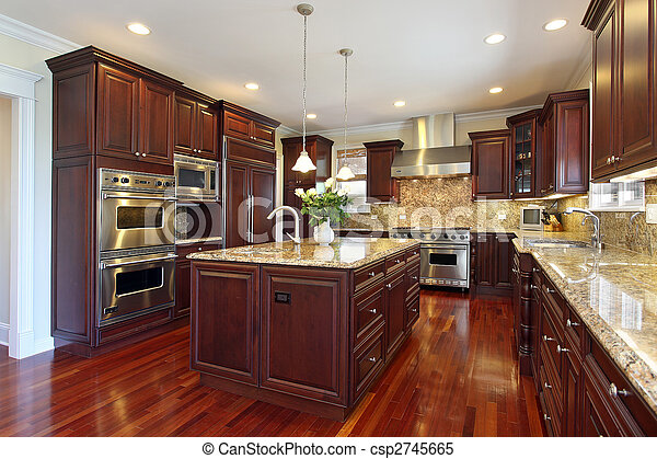 Kitchen with cherry wood cabinetry - csp2745665