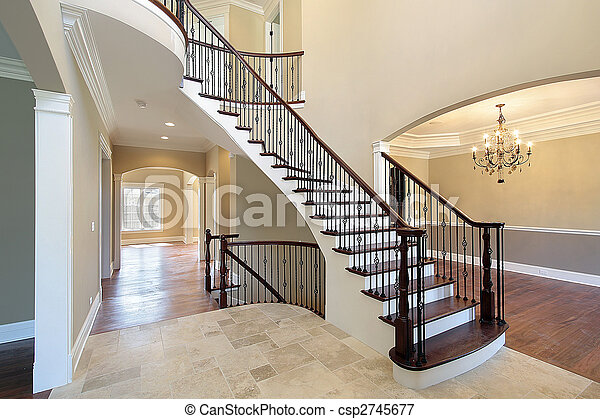 Picture of Foyer with spiral staircase - Foyer in new construction ...