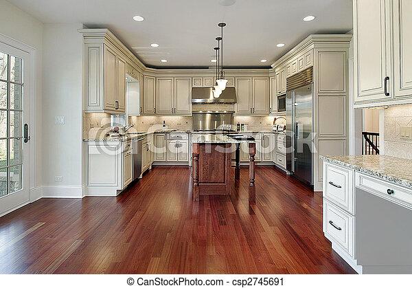 Kitchen with cherry wood floor - csp2745691