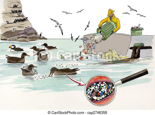stock illustration of trash at sea trash dumping kills clip art garbage can clip art trash can sign