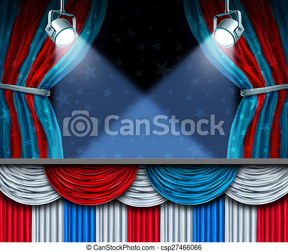 Election background or fourth of July design element with stage spot lights and curtains with blank space as a concept for patriotic celebration or campaigning for voters.