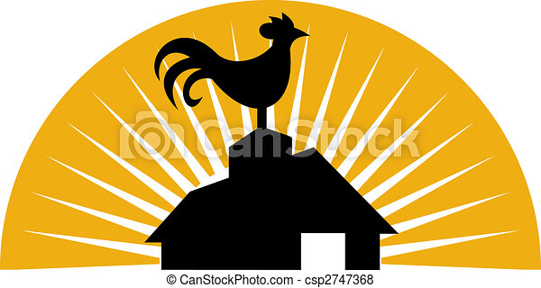 Rooster crowing on top of farm house or barn - csp2747368