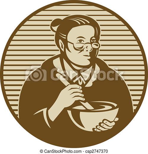 Stock illustratie van oud vrouw of oma het koken ixing kom illustratie csp2747370 for Beeldkoken