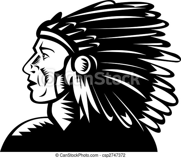 native american indian chief with headdress - csp2747372