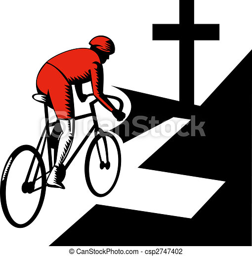 Cyclist racing on bicycle with cross on road - csp2747402