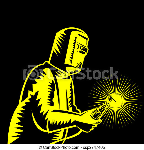 welder at work on blakc background - csp2747405