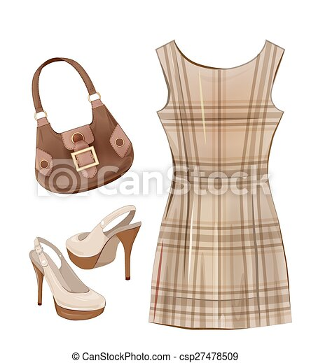 Vector Clipart of Fashion items for girls. Casual dress, shoes and ...