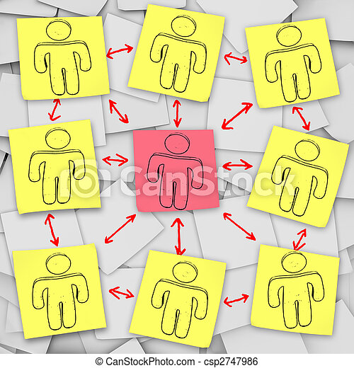 Social Network Connections - Sticky Notes - csp2747986