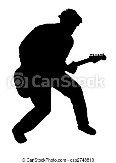 Stock Illustration of Guitar player - Black silhouette of a ...