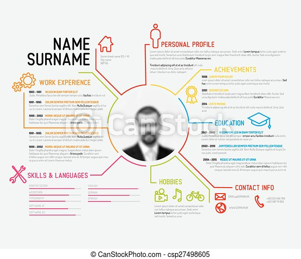 vector clipart of original cv resume template vector