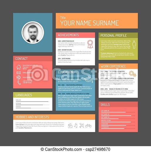Vectors Illustration Of Cv Resume Template Dashboard