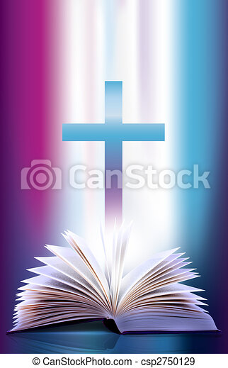 open flicking bible and cross - csp2750129