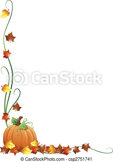 Clipart of Autumn border - Illustration of fall leaves and a ...