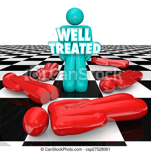 Well Treated Chess Person Standing Over People No Treatment Help - csp27528061