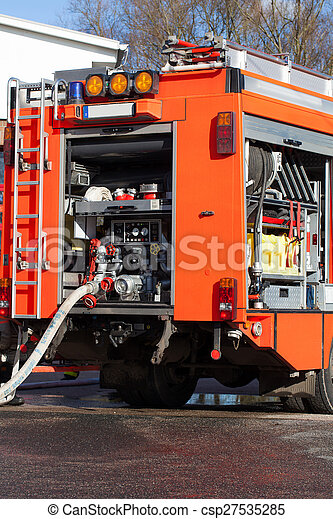 Emergency fire vehicle with hose