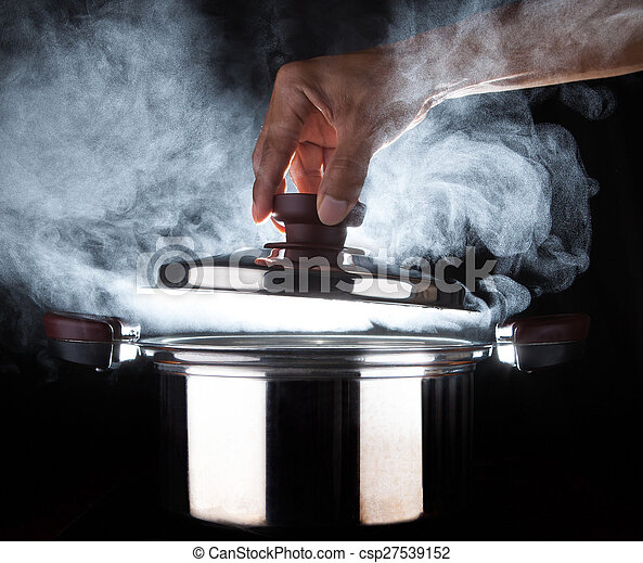 hand of chef open hot stream pot with beautiful studio lighting against black background use for people cooking food and water boiled in kitchen room