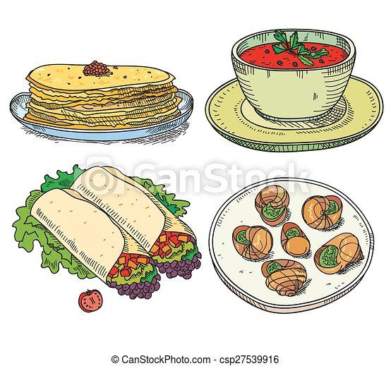 vector clip art of popular world famous food international