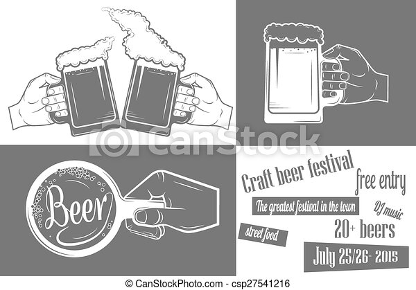 Vector clip art of beer festival two color poster beer for Free craft show listings