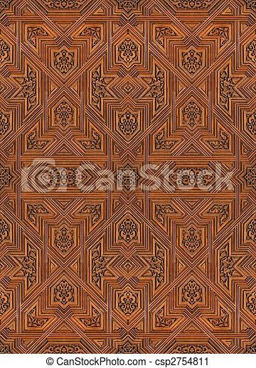 arabic pattern seamless texture at Alhambra palace in Granada, Spain - csp2754811