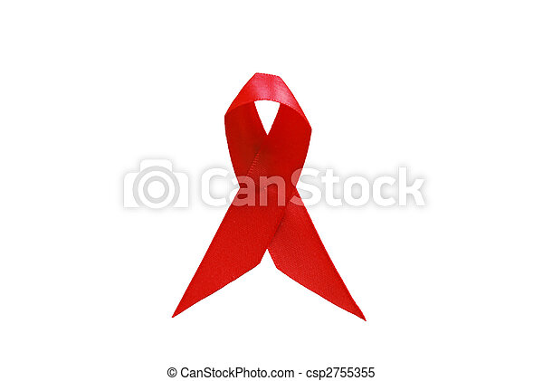 red ribbon as symbol of aids awareness over white - csp2755355