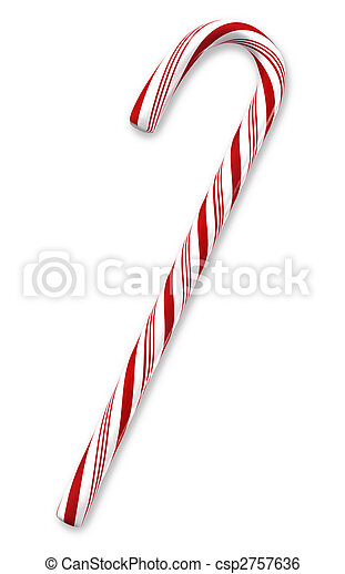 Traditional holiday candy cane isolated on white with clipping paths. - csp2757636