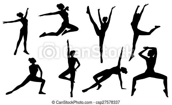 Silhouette Poses Woman Aerobics Fitness 27578337