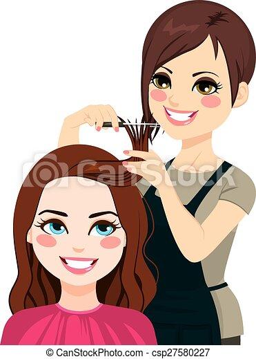 Vector Illustration Of Hairdresser Cutting Fringe