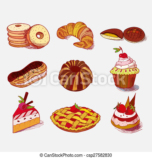 dessins de croquis croissant dessert tarte main boulangerie petit csp27582830. Black Bedroom Furniture Sets. Home Design Ideas