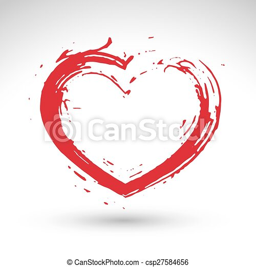 Hand drawn red love heart icon, loving heart sign, created with real hand drawn ink brush scanned and vectorized, hand-painted love symbol isolated on white background.