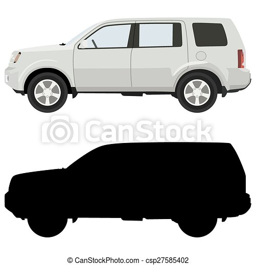 Vector Clipart Of White Suv On A White Background With A