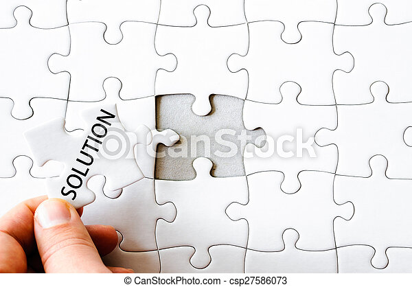 Missing jigsaw puzzle piece with word SOLUTION