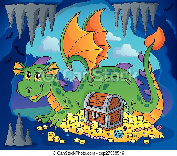 Dragon with treasure theme image 3 - csp27588549