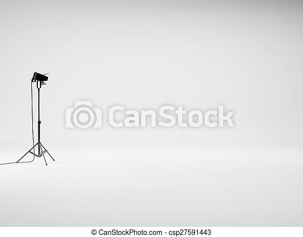 Photo studio with equipment. 3D rendering