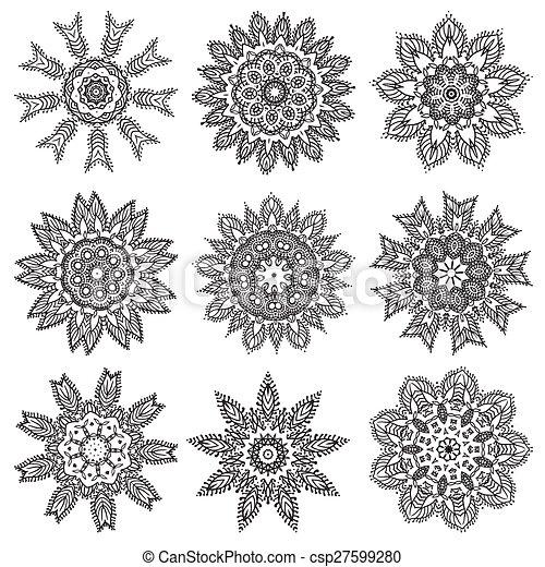 , mano, dibujo, zentangle, elementos, negro, y, blanco, flor, Mandala ...