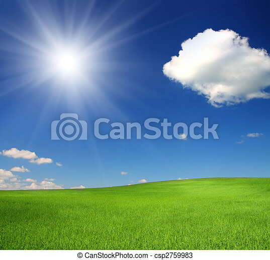 green hill under sky with sun - csp2759983