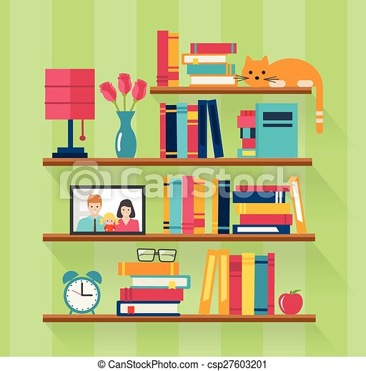 Vector Clipart Of Bookshelves With Books In Room Interior
