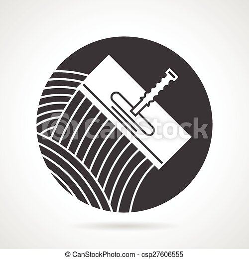Clipart Vector Of Tile Trowel Black Round Vector Icon