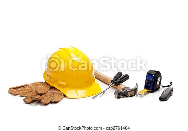 Construction worker supplies on white - csp2761404