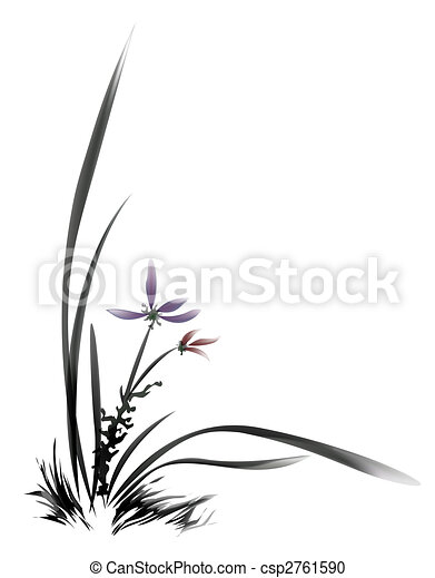 chinese painting of flower - csp2761590