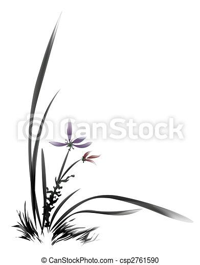 Illustration de fleur peinture chinois peinture chinoise de fleur csp2761590 - Dessin arbre chinois ...
