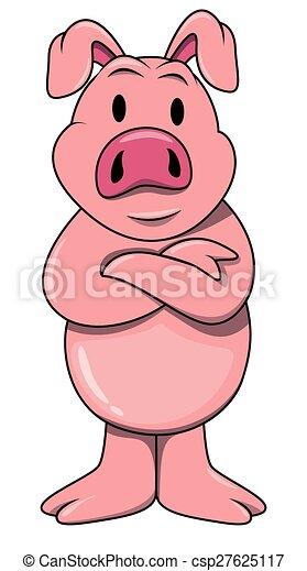 Clip art vecteur de debout cochon csp27625117 - Dessin cochon debout ...