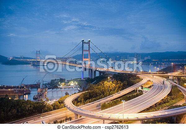 A magical evening of Hong Kong Tsing Ma Bridge .       magical,Hong Kong, Tsing Ma, Bridge,environment, conditions, circumstances,scenery, landscapes, scenes, scenic sights,sunset, sundown, sunrise, sunup,night scenes ,building, structure, difice, erection, architecture,� - csp2762613