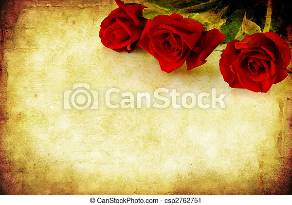 rosas,  grunge, vermelho - csp2762751