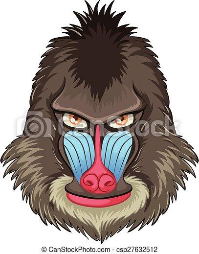 Clip art vecteur de babouin mandrill illustration de - Dessin de babouin ...